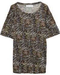 IRO - Shay Distressed Zebra-print Linen-jersey T-shirt Sage Green - Lyst