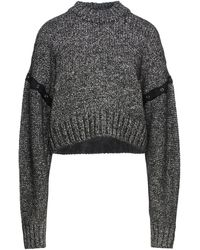 McQ Genesis Ii Cropped Snap-detailed Marled Knitted Jumper - Black