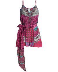 Camilla - Embellished Printed Silk-georgette Playsuit - Lyst
