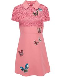 Valentino Appliquéd Lace-paneled Wool And Silk-blend Mini Dress Pink
