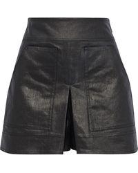 Tibi Pleated Coated Denim Shorts Gunmetal - Black