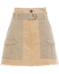 FRAME Belted Two-tone Cotton-blend Twill Mini Skirt Sand - Natural