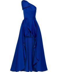 Jay Godfrey Yany One-shoulder Duchesse-satin Playsuit And Skirt Set Royal Blue
