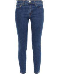 Current/Elliott Cropped Mid-rise Skinny Jeans Dark Denim - Blue