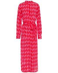 YOLKE Belted Printed Silk Crepe De Chine Nightshirt - Pink