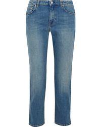 Acne Studios Woman Lit Carter Cropped Mid-rise Straight-leg Jeans Mid Denim - Blue