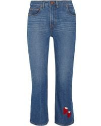 Bliss and Mischief | Strawberry Cowbody Cropped Embroidered High-rise Bootcut Jeans | Lyst