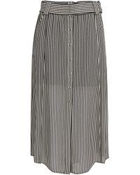 A.L.C. - Striped Silk-crepe Midi Skirt - Lyst