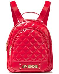 Love Moschino Quilted Faux Leather Backpack Red