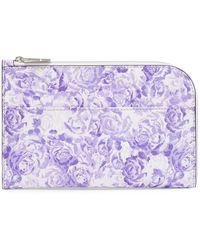 Ganni Floral-print Textured-leather Pouch - Purple