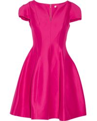 Halston - Flared Cotton And Silk-blend Dress - Lyst