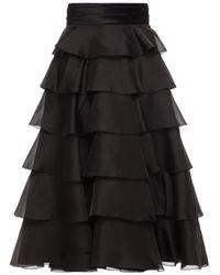 Alexandre Vauthier Tiered Satin-trimmed Silk-organza Midi Skirt - Black