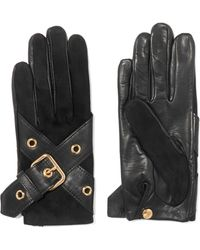 Causse Gantier - Ophelie Leather Buckle-trimmed Suede Gloves - Lyst