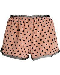 RED Valentino Polka-dot Fringe-trimmed Silk Pyjama Shorts - Pink