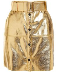 MSGM Belted Metallic Faux Leather Mini Skirt