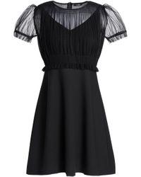 Raoul Pleated Tulle-paneled Crepe Mini Dress Black