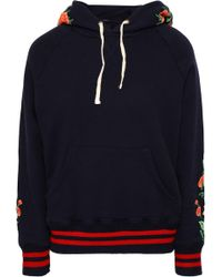 Mother - Woman Embroidered French Cotton-terry Sweashirt Navy - Lyst
