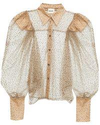 Khaite Gathered Glittered Flocked Stretch-tulle Shirt - Multicolour