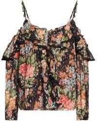 Needle & Thread - Cold-shoulder Floral-print Fil Coupé Georgette Top Black - Lyst