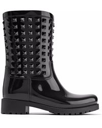 Valentino | The Rockstud Glossed-rubber Rain Boots | Lyst