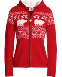 Perfect Moment - Intarsia Merino Wool Hooded Jacket - Lyst