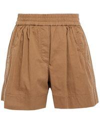 Brunello Cucinelli Geraffte Shorts Aus Baumwoll-twill Mit Zierperlen Größe 40 - Brown