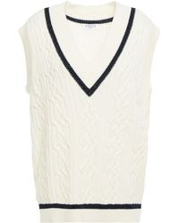 Claudie Pierlot Miky Striped Cable-knit Wool And Cotton-blend Vest - White