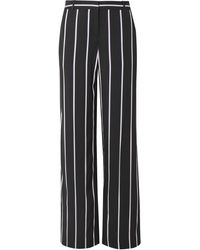 Equipment Arwen Striped Twill Wide-leg Trousers Charcoal - Gray