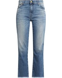 7 For All Mankind - Frayed Faded Mid-rise Bootcut Jeans - Lyst