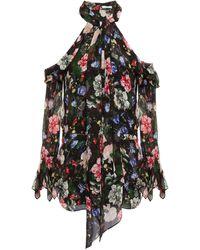 Erdem - Cold-shoulder Floral-print Silk-chiffon Top - Lyst