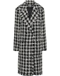 Joie Double-breasted Houndstooth-jacquard Coat Black