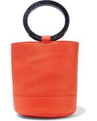 Simon Miller Bonsai Pebbled-leather Bucket Bag Bright Orange