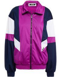 MSGM Color-block Fleece Track Jacket - Purple