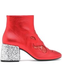 MM6 by Maison Martin Margiela - Glittered Leather Ankle Boots - Lyst