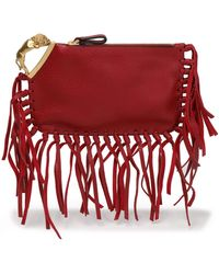 Valentino - Fringe-trimmed Textured Leather Clutch - Lyst