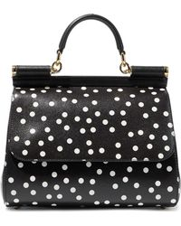 096a8f93b18e Dolce   Gabbana - Sicily Polka-dot Textured-leather Shoulder Bag - Lyst