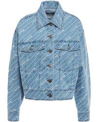 House of Holland Embroidered Denim Jacket Light Denim - Blue