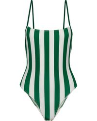 Solid & Striped The Chelsea Striped Swimsuit Emerald - Green