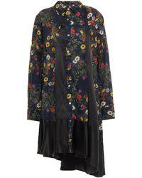 CLU Asymmetric Panelled Floral-print Cotton And Satin Dress - Blue