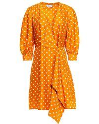 Paul & Joe - Wrap-effect Polka-dot Satin-jacquard Mini Dress - Lyst