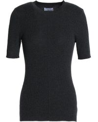 FRAME - Ribbed Silk And Cashmere-blend Top Dark Grey - Lyst
