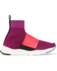 Balmain Cameron high-top-sneakers aus jacquard-strick mit lederbesatz - Lila