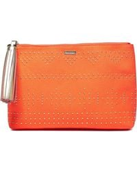 Melissa Odabash - Woman Tasselled Studded Canvas Pouch Orange - Lyst