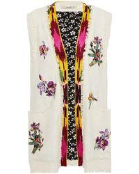 Etro Frayed Embellished Silk Vest - Multicolour
