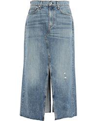 Rag & Bone - Clyde Frayed Faded Denim Midi Skirt Mid Denim - Lyst