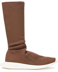 Rick Owens Drkshdw Stretch-knit Boots Brown