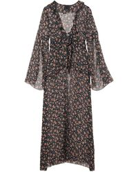 Anna Sui Lilies Of The Valley Printed Silk-chiffon Robe Black