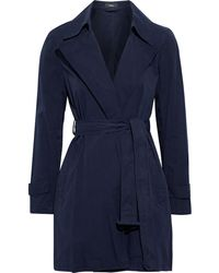 Theory Oaklane Cotton-twill Trench Coat - Blue