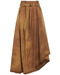 Brunello Cucinelli Asymmetric Bead-embellished Tie-dyed Cotton-blend Poplin Skirt - Brown