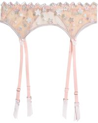 Mimi Holliday by Damaris - Woman Embroidered Tulle Suspender Belt Peach - Lyst